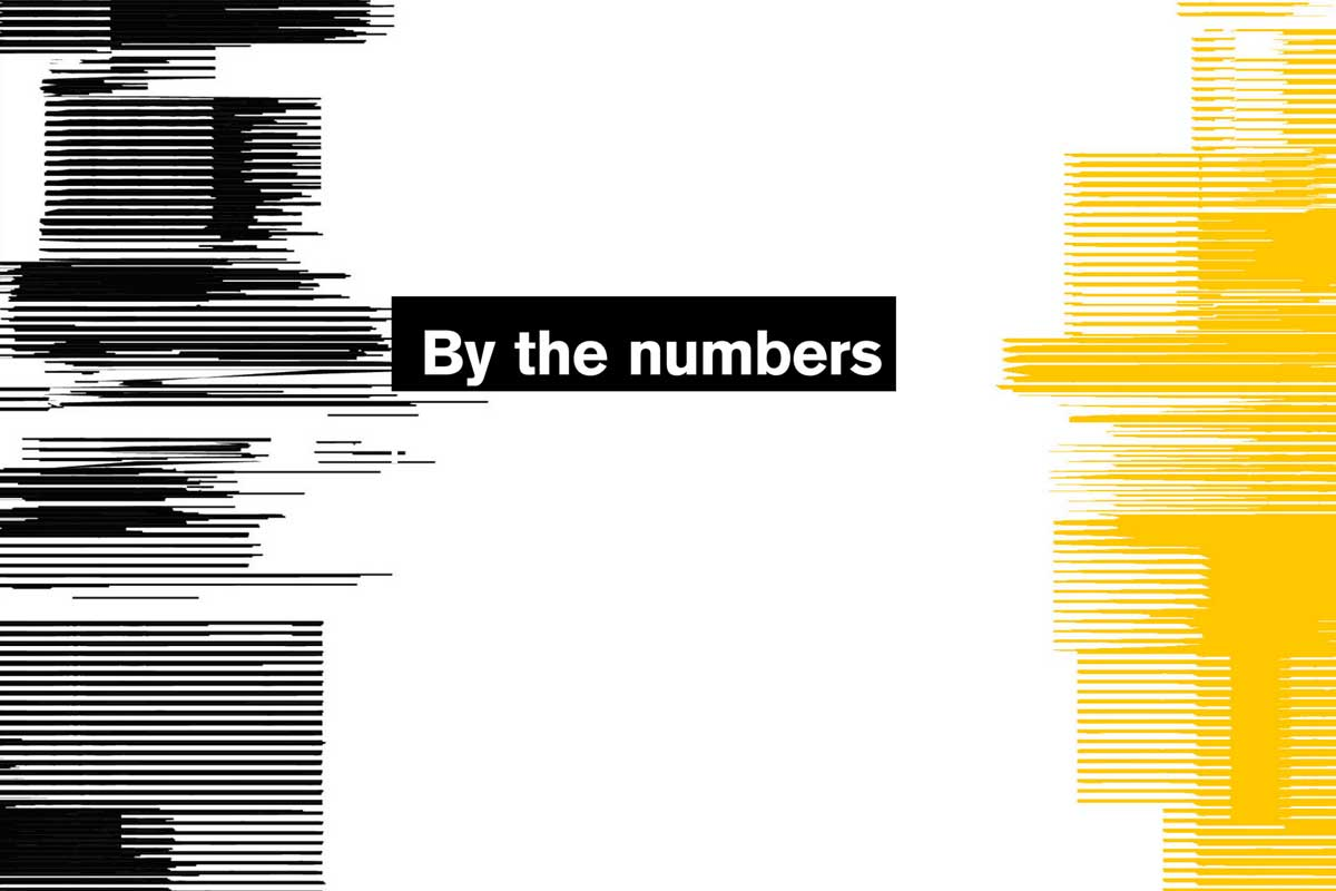 By the numbers text with glitch effect