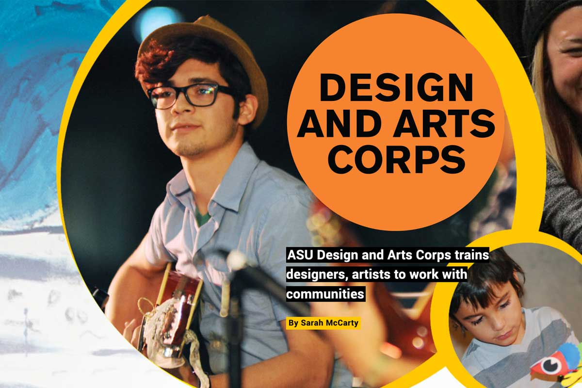 design and arts corps - text - with images of artists in the community