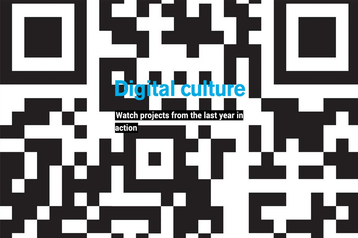 digital culture - text - with qr code background