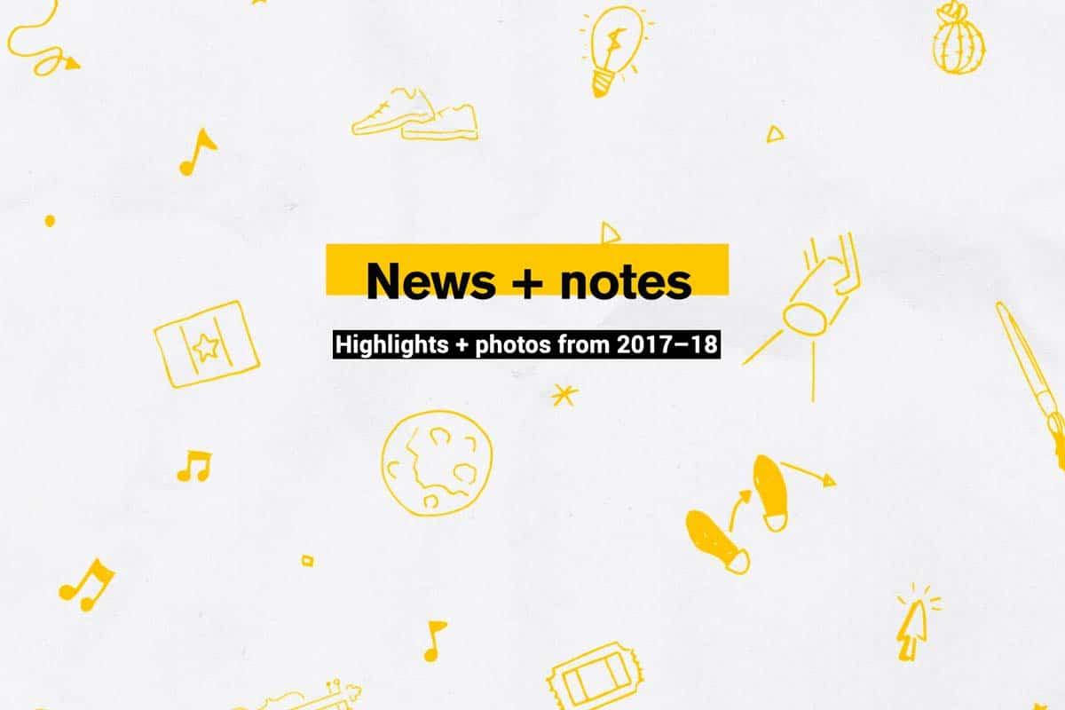 News and notes - text - with various icons related to stories
