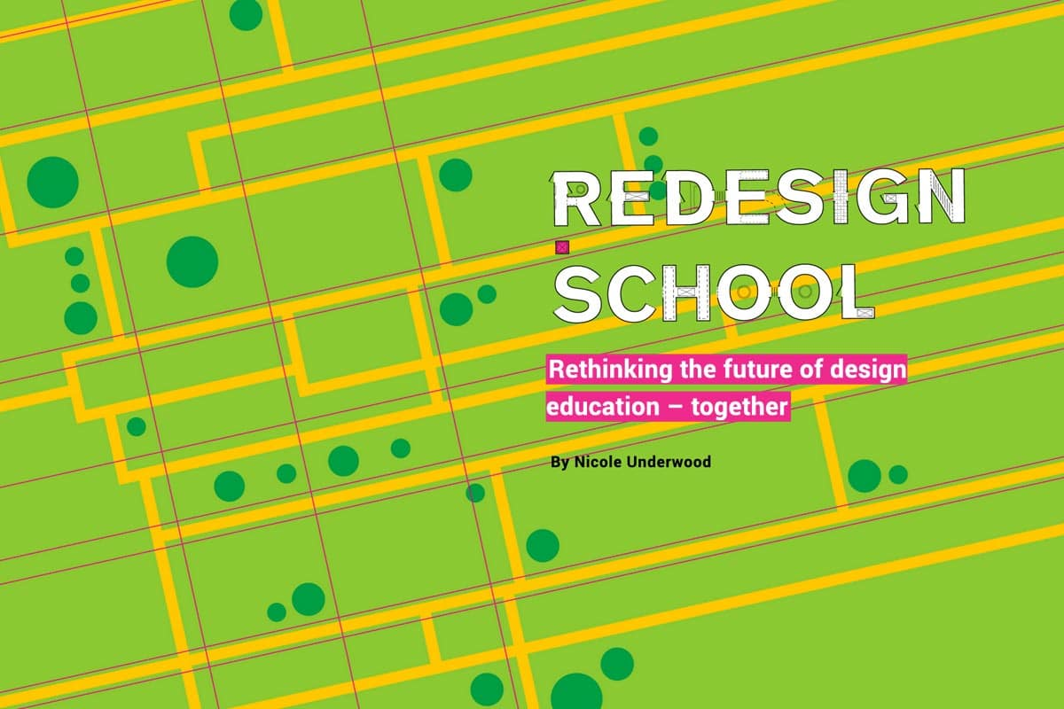redesign school - text - with architecture plan background