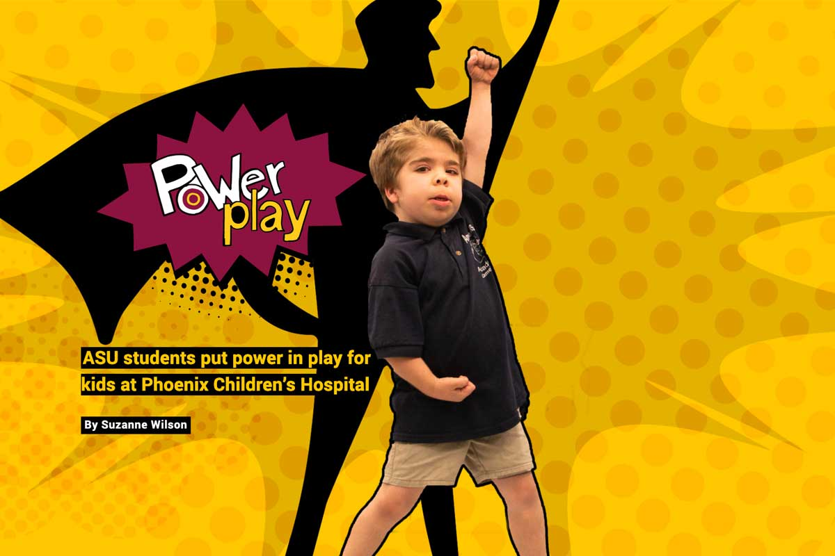 Power Play text - with young boy standing in super hero pose