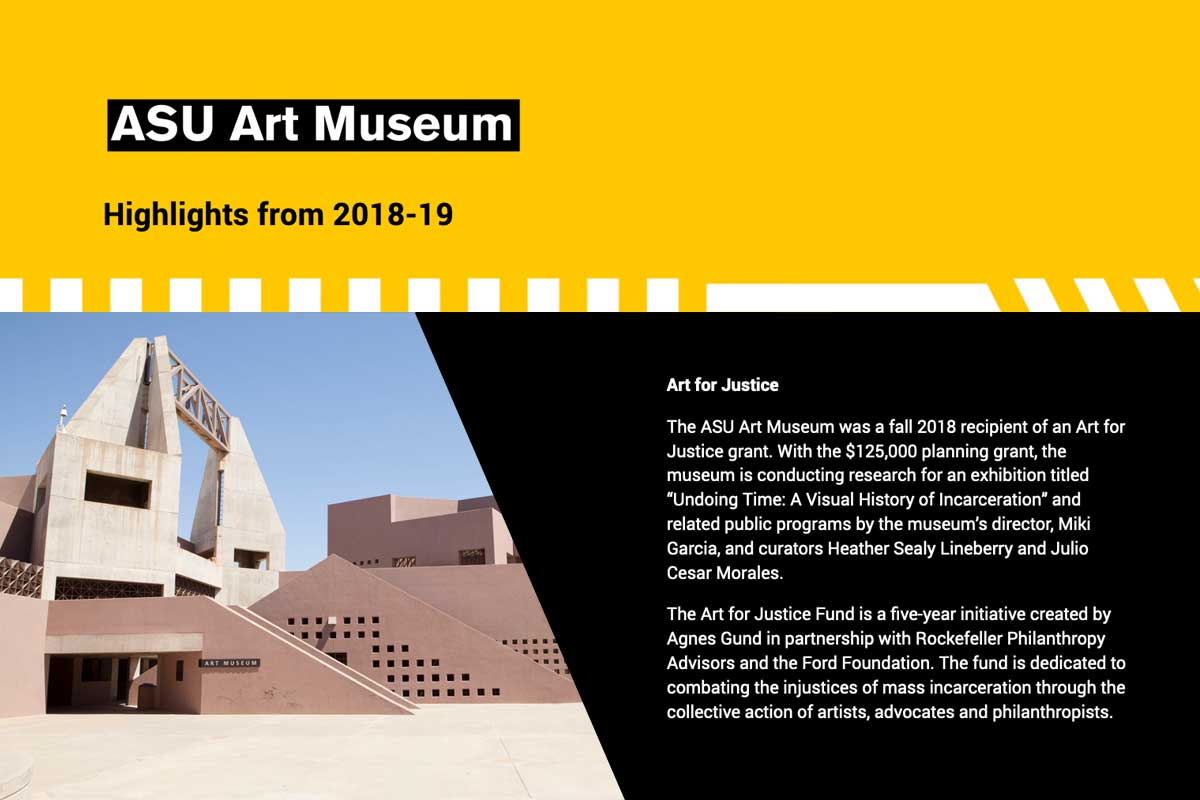 ASU Art Museum highlights - type - with photo of museum