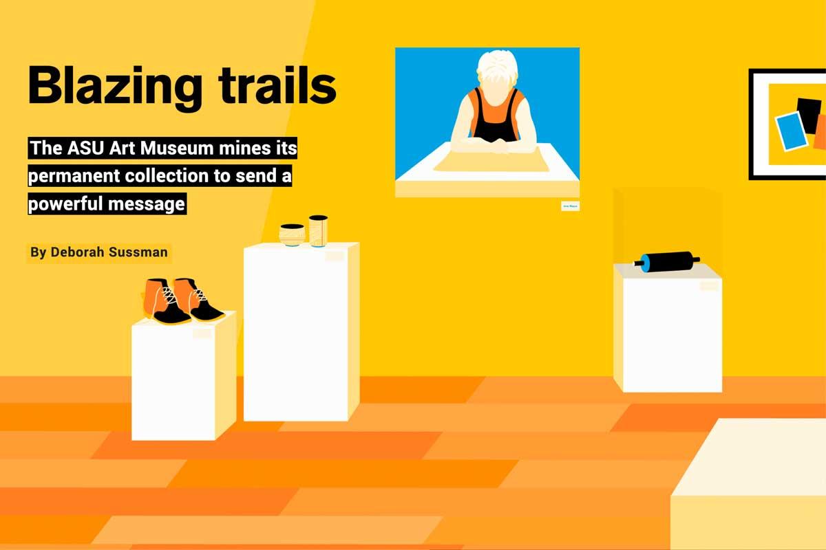 Blazing trails - text - with illustration of museum gallery